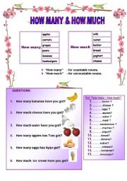 English Worksheets: HOW MANY - HOW MUCH