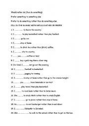 English Worksheet: would rather/prefer