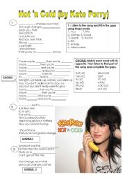 English Worksheet: Song Hot �n Cold by Katy Perry