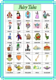 English Worksheet: Fairy Tales Pictionary (Poster)