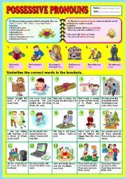 English Worksheet: Possessive pronouns (part 1) + KEY