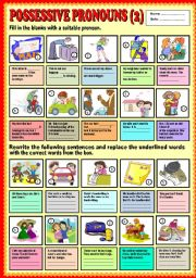 English Worksheet: Possessive Pronouns ( part 2) + KEY