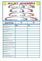 English Worksheets: short answers + explanation