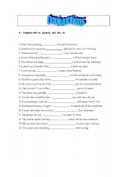 English worksheet: Conjunctions - and, or, so, but