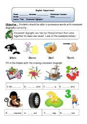 English teaching worksheets: Digraphs
