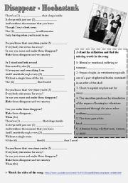 English Worksheet: Song: Disappear - Hoobastank (Simple Present)