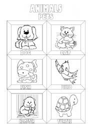 English Worksheet: Animals Colouring Pictionary (3 pages)