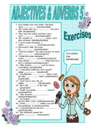 English Worksheets: ADJECTIVES AND ADVERBS  - 5 - EXERCISES