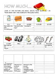 English Worksheet: HOW MUCH...
