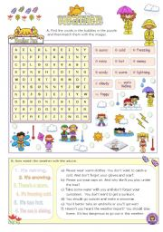 English Worksheets: Weather Fun Activities for Elementary and Lower intermediate Stds.