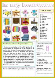 English Worksheet: IN MY BEDROOM