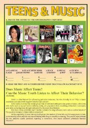 English Worksheet: Teens and Music