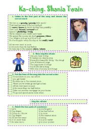 English Worksheet: Song! Ka-ching (Shania Twain)