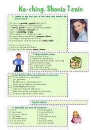 English Worksheets: Song! Ka-ching (Shania Twain)