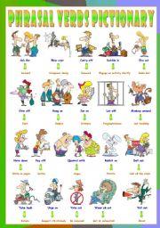 English Worksheets: Phrasal Verbs (Twelfth series). Pictionary (Part 1/3). Hang on = Endure