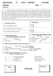 English Worksheets: Test  (Reading + comprehension + grammar)