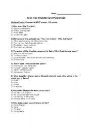 Printables The Crucible Worksheets english worksheets test on the crucible by arthur miller worksheet on
