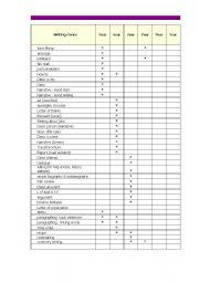 English Worksheets: Checklist of All Possible Writing Genres