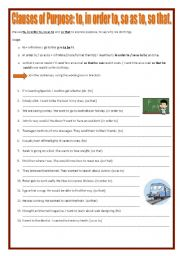 English Worksheets: Clauses of Purpose: to, in order to, so as to, so that