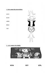 English Worksheets: LEGS, BODY, ARMS, HEAD, CAP, MOM, BOY,GIRL and ARMS.