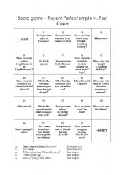 Present perfect -past simple. board game
