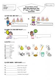 English Worksheet: 2nd term 4th grade 2nd exam paper