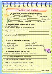 English Worksheet: Zero and First Conditionals and Unless