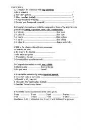 English Worksheets: MIXED EXERCISES