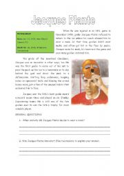 English Worksheets: Jacques Plante Reading Comprehension