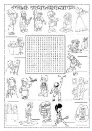English Worksheet: JOBS WORDSEARCH (2)