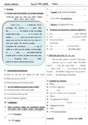English Worksheets: Test : reading - comprehension + grammar + dialogue completion