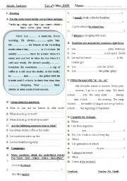 English Worksheets: Test : reading - comprehension + grammar + dialogue completion