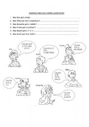English Worksheets: Look at the speech bubbles and answer the questions