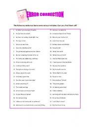 English Worksheets: Error correction- elementary