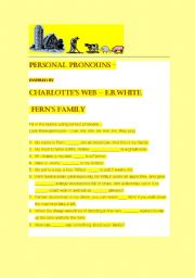 Charlotte´s Web - Personal Pronoun Worksheet. with Fern and Family.