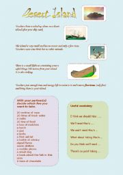English Worksheet: Desert Island game