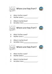 English Worksheets: Where are they from