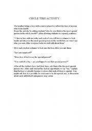 English Worksheets: circle tiime activity
