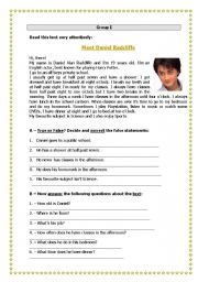 English Worksheets: Meet Daniel Radcliffe