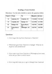 English Worksheets: Train Schedule question sheet
