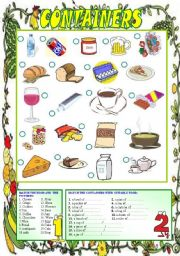 English Worksheet: Food and Containers (editable)