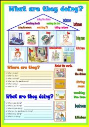 English Worksheet: What are they doing?  (B/W)