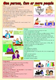 English Worksheet: One person, two or more people (personal pronouns, possessive adjectives and verb to be) ***fully editable