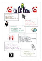 English Worksheets: On the phone: useful sentences and expressions
