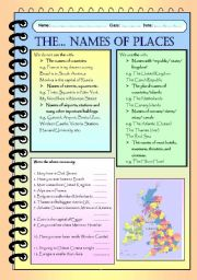 English Worksheet: The definite article with names of places