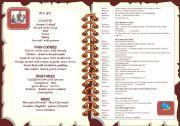 English Worksheet: At the restaurant menu + dialogue