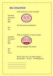 English Worksheet: SELF EVALUATION SHEET
