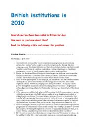 English Worksheets: General election in Britain 2010