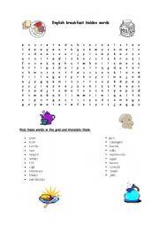 English Worksheet: English breakfast hidden words