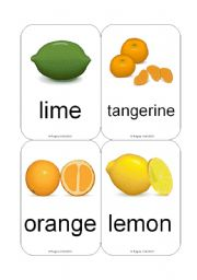 English Worksheet: Fruit / Vegetable Flashcards (Juicy Fruit) (12 Cards)